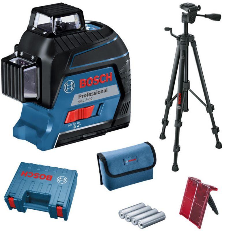 BOSCH GLL 3-80 Professional křížový laser + 4x 1,5 V AA + stativ BT 150 + kufr + taška 06159940KD