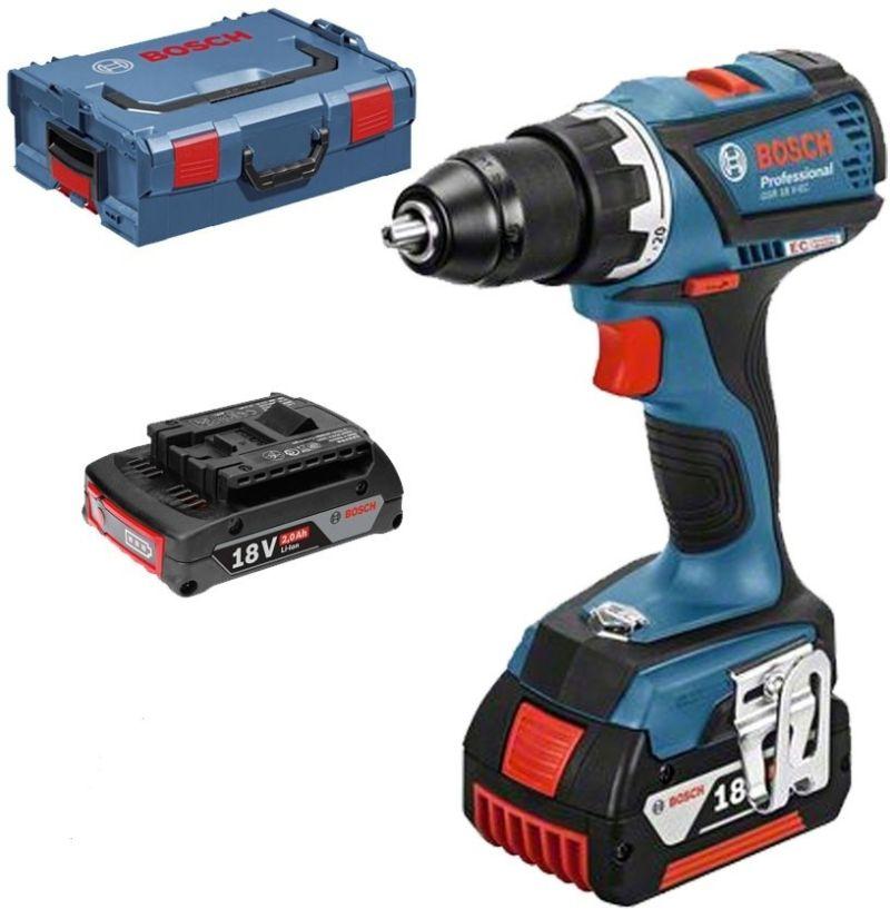 BOSCH GSR 18 V-EC Professional Aku vrtačka, L-BOXX, 2x Akku 2,0Ah, 0.601.9E8.107