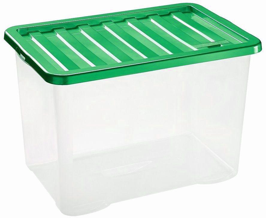 HEIDRUN Box úložný Quasar, 26 x 43 x 33 cm, 28 l, transparentní/zelená 1683Q
