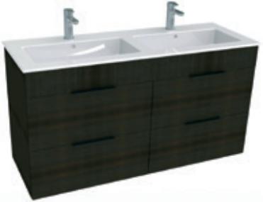Jika CUBE Skříňka s umyvadlem 120x43cm, s 4 zásuvkami, tmavý dub H4536621763021