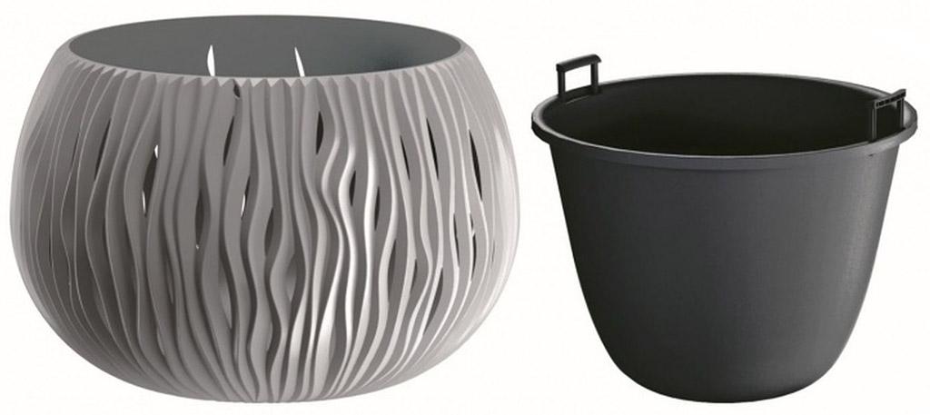 PROSPERPLAST SANDY Bowl květináč 18 cm, šedý kámen DSK180