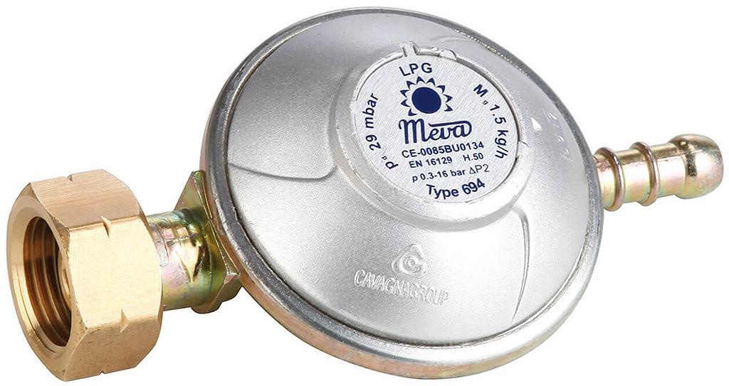 MEVA Regulátor tlaku plynu 50 mbar, 1,5 Kg/h s hrotem, NP01034
