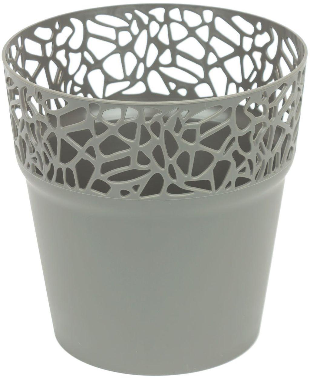 Prosperplast NATURO Květináč s krajkou 12 cm, šedý kámen DNAT120