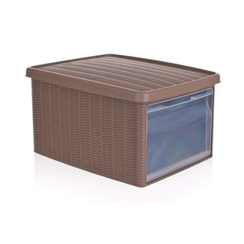 VETRO-PLUS Multifunkční box 15 L s víkem Rattan Elegance Line, sv. hnědá 5530002